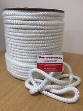 10mm STOVE ROPE WHITE QUALITY GLASS FIBRE ROPE SEAL LAGGING WOOD BURNER OVEN