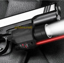 Tactical CREE Flashlight Red Laser Combo Sight Rifle Scope Weaver Picatinny Rail