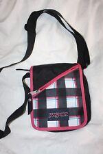 Jansport Messenger Courier shoulder Bag tote cross body PINK PLAID color Rare!
