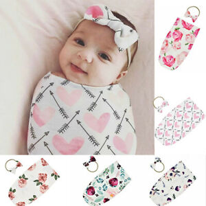 Newborn Swaddle Blanket Baby Infant Sleeping Bag Flower Wrap Cloth Headband LH