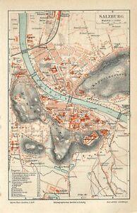 1895 AUSTRIA SALZBURG CITY PLAN  Antique Map