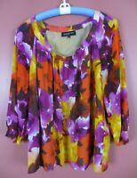 TB05065- JONES NEW YORK Womens Silk Blouse 3/4 Sleeve Multi-Color Floral Sz 16