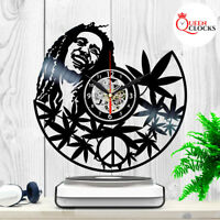 Bob Marley Wall Art Vinyl Record Clock Black Rasta Home Decor Best Gifts for Man