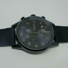 Mens Black Hugo Boss Chronograph Watch Mesh Strap HB.306.1.34.2991 - Bent Clasp