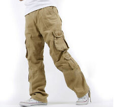 Mens Hot New Pants Trousers YE Loose Fit Cargo Overalls Baggy Hip Hop Plus Size