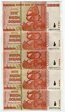 Zimbabwe 50 Billion Dollars x 5 pcs AA/AB 2008 P87 VF currency bills