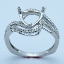FINE JEWELRY TRILLION 8X8MM 14K WHITE GOLD REAL DIAMONDS SEMI MOUNT SETTING RING