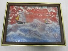 "SIGNED MINGOLLA FRAMED ENAMEL ON COPPER PAINTING 2 TALL SHIPS AT SEA 12"" X 9"""