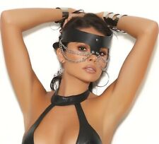 Elegant Moments Halloween Black Leather Chain Mask Fancy Dress