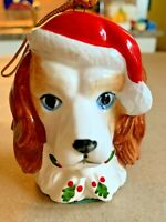 Vintage Christmas Dog Puppy Santa Hat Retriever Spaniel Ceramic Ornament Japan