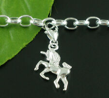 Lobster clasp Vintage Style Clip On Charms Unicorn Silver Plated 37 x 16 mm