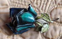 Vintage Signed CORO Silvertone Base Enamel FLOWER Pin Brooch