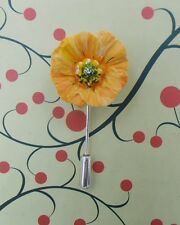 ORANGE ICELAND POPPY PIN Memorial Remembrance Lapel Flower Brooch HAND PAINTED