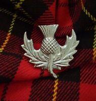 Glengarry Cap Badges Pin Thistle Emblem Chrome Finish/Balmoral Hat Badge Thistle