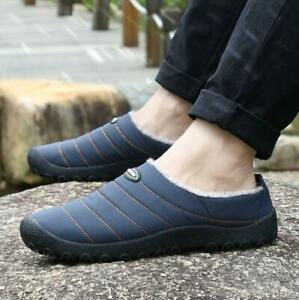 Mens Loafers House Living Slippers Warm Slip On Flat casual Non-slip Shoes
