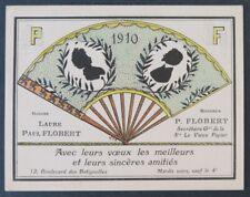 Carte de voeux 1910 PAUL FLOBERT Vieux Papier PARIS éventail fan silhouette