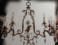 1950/70′ Lustre En Métal Doré 10 Ampoules Décor De Fleurs DLG Maison Baguès
