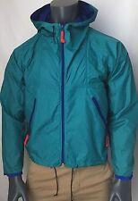 Men's Vintage Sierra Designs Green Blue Windbreaker Hooded Rain Jacket Size S