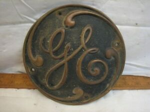 """Vintage GE Solid Brass 7"""" Industrial Machine Badge General Electric Co Sign"""