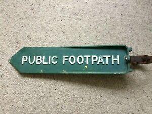 PUBLIC FOOTPATH  Genuine - Vintage - ROAD SIDE CAST METAL SIGN 1960s + Bracket