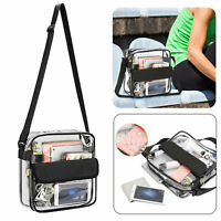 Clear Plastic Tote Bag Women Transparent Handbag Zip Purse NFL Stadium Security