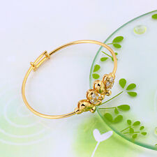 """9ct 9K Yellow """"GOLD Filled"""" CZ Baby toddler Butterfly Bangle Bracelet 47mm."""