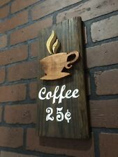 Coffee Bar Carved Wood Sign Primitive Rustic Wall Plaque Antique Look Art