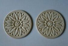 "Embossed Sunflower Design Wood Applique - ONLAY - 3"" Round- Pair of 2"