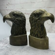 """Vtg 9"""" Brass American Bald Eagle Head Book Ends Set Pair Office Study Heavy"""