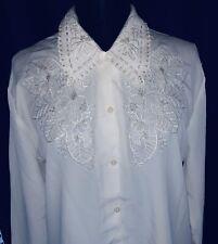 Edle Designer-Bluse Weiß mit Strickerei, 40-42 Model B