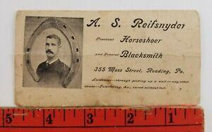 Vintage 1880's Reifsnyder Horseshoer Blacksmith Reading PA. Business Card