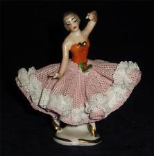 """Vintage Dresden Lace Figurine by Wilhelm Rittirsch, Ballerina Dancing 3 1/4"""""""