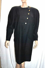 Vintage CHANEL BOUTIQUE Gray Long Sleeve Wool Dress COCO Buttons sz 40