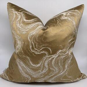"Luxury Cushion Cover 18""x 18"" Designer Fabric &Marble Effect Gold Decor Interior"