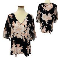 Calvin Klein women's blouse sleeve belt flowered size 1X/1G (G-1A)