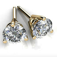 3.00 Ct VVS1 Round Cut Solitaire Diamond Earring Stud 14K Real Yellow Gold Studs