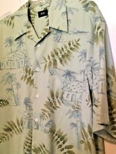 Men's Silk Icon Shirt Size M Short Sleeve Green Floral Print 100% Silk Button Fr