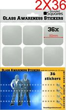 72 ROUNDED SQUARES Glass Awareness Stickers 50mm Etched Effect Frosted Film