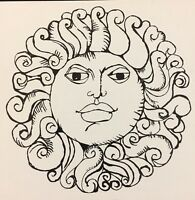 Vintage 1970s DICK SEEGER Goofy B/&W Sun Face Pop Art Card