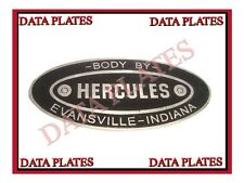 NEW HERCULES BODY BUILDERS ETCHED ALUMINUM DATA PLATE EVANSVILLE INDIANA