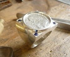 Signet ring silver squared with piece 1 Franc Napoleon III and 4 sapphires