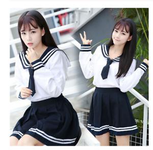 Girl JK Uniform Japanese Korea Tops+Skirt+Tie School Wear Uniform Student Sailor