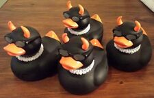 New Rare Set of 4 Axe Rubber Evil Devil Duck Ducky Duckie Toy Shades Puka Shell