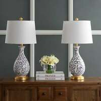 """Safavieh Lighting 28-inch Avi LED Table Lamp (Set of 2) - White, Blue 14""""x14""""x27"""