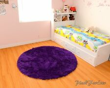 Royal purple 5' faux fur rug nursery area throw rug girl or boy babyroom rug new