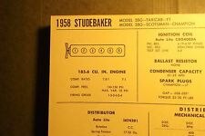 1958 Studebaker Six Series Models 185.6 Ci L6 Tune Up Chart