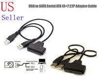 "USB 2.0 to 2.5"" 22 7+15 Serial ATA SATA 2.0 II HDD/SSD Adapter Converter Cable"