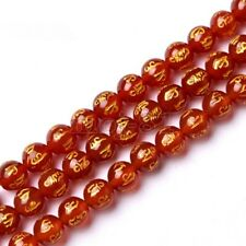 8mm Natural Red Agate Carve Mantra Om Mani Padme Hum Amulet Loose Beads 15'' AAA