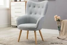 Fabric Light Grey Armchair High Back Button Relax Seat Wood Legs Living Room