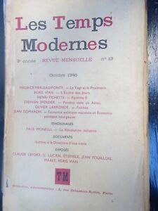 Zeitschrift Der Temps Modern Jean Paul Sartre 13 (Oktober 46 A15 Dez 45